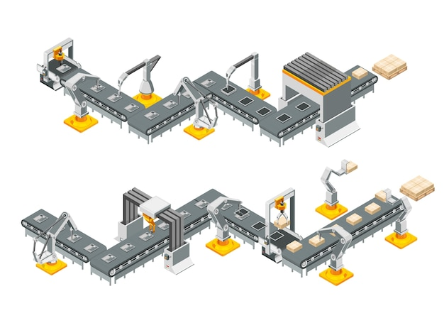 Conveyor lines of the automatic factory with robotic arms. assembly process.  illustration