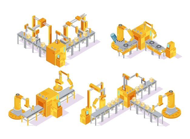 Conveyor system with computer control isometric design concept including production line and packaging isolated vector illustration