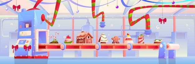Конвейер с рождественской конфетой и сладкой иллюстрацией