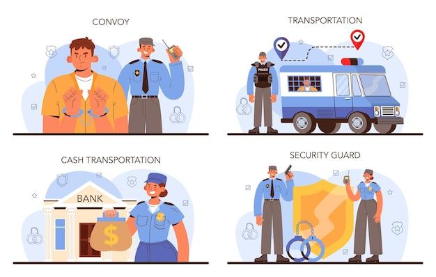 コンボイのコンセプト。装甲トラックでの犯罪者の輸送。お金の収集と保護。防弾制服を着たプロの警備員の護衛。ベクトル分離イラスト。