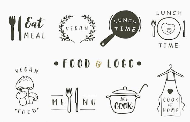 エプロン、パン、キノコ、ポット、フォーク、ナイフでクックとキッチンのロゴコレクション。アイコン、ロゴ、ステッカー、印刷可能、タトゥーのベクトル図