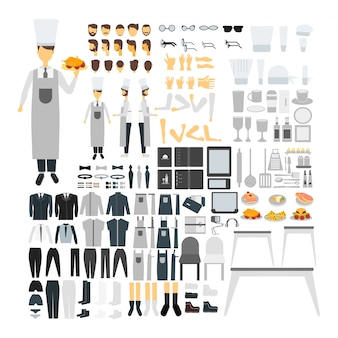 다양한 뷰, 헤어 스타일, 감정, 포즈 및 제스처로 애니메이션을위한 쿡 캐릭터 세트.