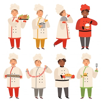 Cook characters, chef at kitchen cooking various tasty food funny cartoon mascot in various poses