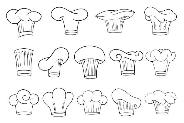 Повар повар шляпы кепки или колпачки в набросках эскиза мультяшном стиле. вектор рисованной поварской персонал униформа головные уборы в различных формах и дизайнах для ресторана и кафе.