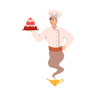 Cook or confectioner looking like genie cartoon vector illustration isolated