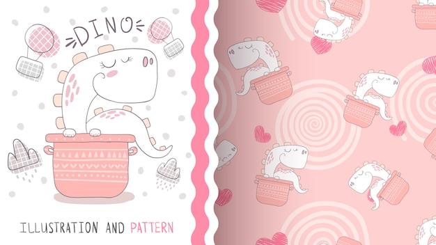 Cook cute dino - seamless pattern