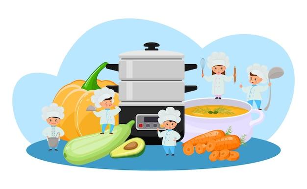 증기선, 벡터 일러스트 레이 션으로 음식을 요리하십시오. 소녀 소년 캐릭터는 건강한 요리를 만들기 위한 도구인 주방 장비를 사용합니다. 호박, 호박, 아보카도