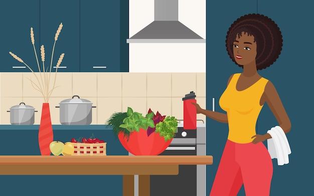 料理ダイエットとスポーツ健康的なライフスタイルスポーティーな美しい女の子が新鮮なサラダを調理する