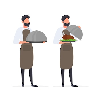The cook holds a metal dish with a lid. waiter with spacing. isolated. vector.