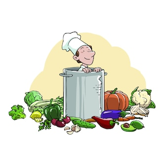 Cook inside a pot with ingredients