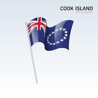 グレーに分離された旗を振ってクック諸島