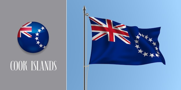 Cook islands waving flag on flagpole and round icon, mockup of cross and stars flag and circle button