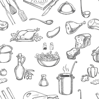 Cook, kitchen, ingredients, and equipment hand drawing
