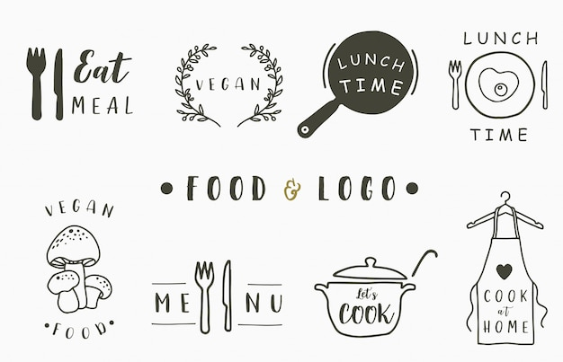 Cook and kitchen logo collection with apron,pan,mushroom,pot,fork,knife.vector illustration for icon,logo,sticker,printable and tattoo