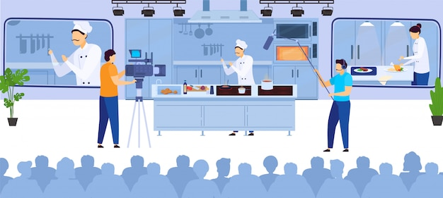 Cook online culinary blog video recording chef cooking on internet and operators with video equipment   illustration.