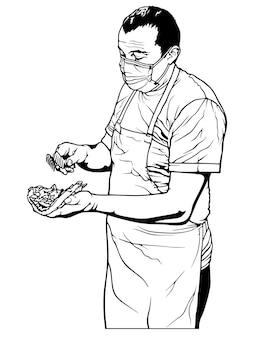 그림 그리기로 터키식 doner 케밥 또는 그리스 자이로스를 준비하는 요리사