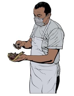 터키식 doner 케밥 또는 그리스식 자이로스 요리를 준비하는 요리사
