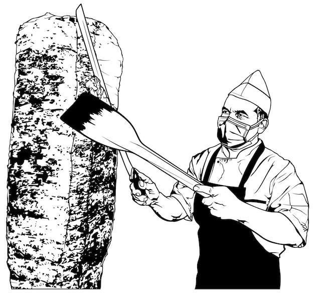 터키식 doner 케밥을 준비하는 요리사