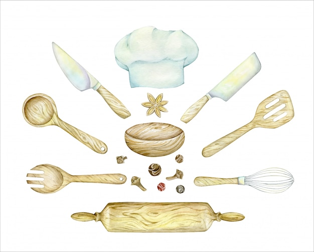 Cook's hat, wooden, spatula, spoon, rolling pin, knife, whisk. watercolor set of kitchen items.
