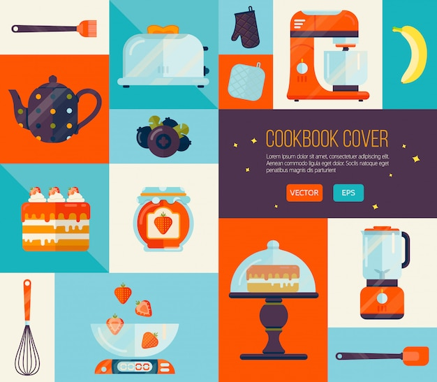 Cookbook cover in bright colors.