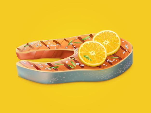Приготовленный и ароматизированный стейк из лосося реалистичный вектор
