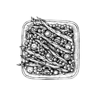완두콩과 토마토 손 그리기와 요리 아스파라거스. 가을 음식 스케치. 추수 감사절 저녁 식사 메뉴 요소. 전통적인 가을 야채 스케치. 벡터 아스파라거스 식사.