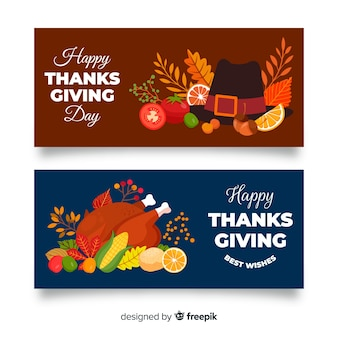 Cooked turkey thanksgiving banners design