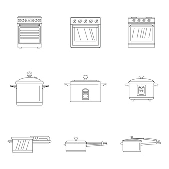 Cooker oven stove pan icons set