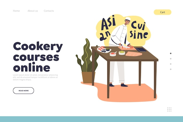Cookery courses online concept of landing page with male chef cook making sushi, traditional asian food. japanese cuisine preparation. cartoon flat vector illustration