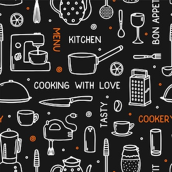 Cookery seamless pattern with kitchen utensil in doodle style.