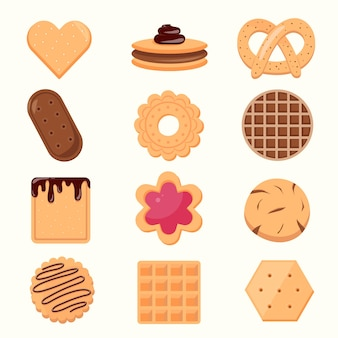 Коллекция иконок печенье и бисквит, изолированные на белом фоне. вкусное печенье карикатура иллюстрации сладкая еда.