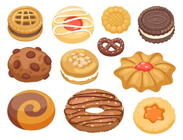 Cookie  cakes top view sweet homemade breakfast bake food biscuit bakery cookie pastry illustration.