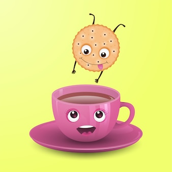 Cookie jumps into a cup of tea.