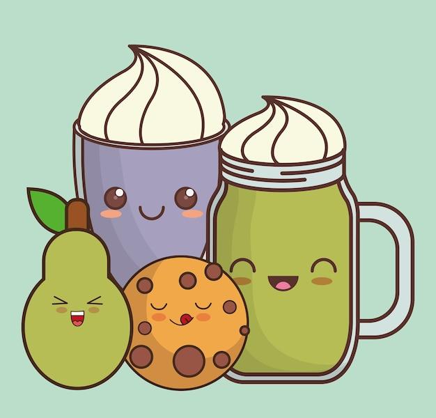 Cookie milkshake pear kawaii food icon image