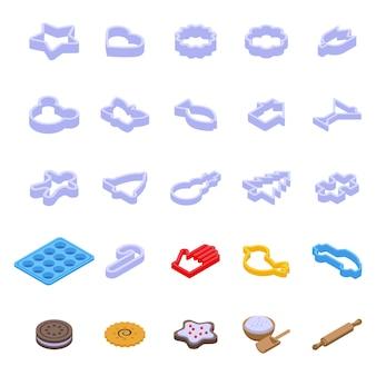 クッキー型アイコンを設定します。白い背景で隔離のウェブデザインのクッキー型ベクトルアイコンの等尺性セット