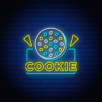 Cookie neon signs style text with blue brick wall