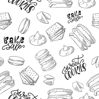 Cookie seamless pattern in hand drawn style.