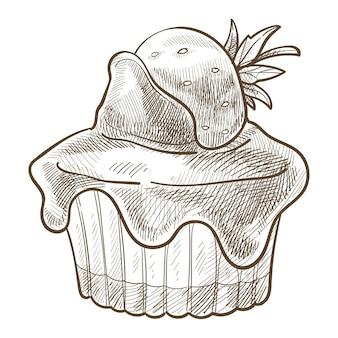 위에 딸기 장식이 있는 쿠키와 초콜릿 토핑 또는 드립 크림