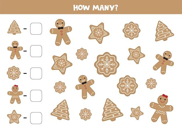 さまざまなジンジャーブレッドcookieの数を数えます。