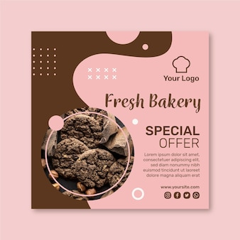 Cookies ad square flyer template