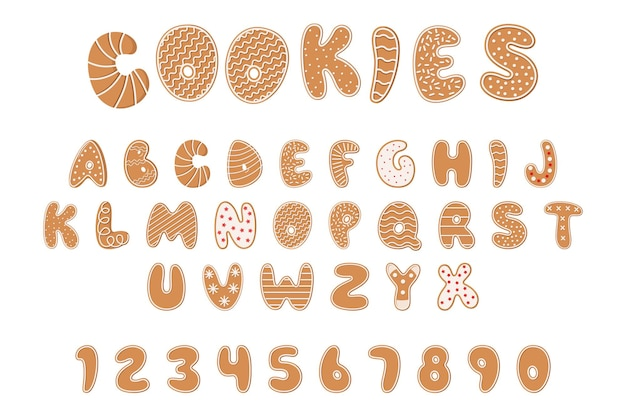 クッキーのアルファベット、クリスマスまたは新年のジンジャーブレッドabcと釉薬とスプリンクルの数字。白い背景の上の孤立したテクスチャ文字。お祝いのクリスマスビスケットフォント。漫画のベクトルイラストセット