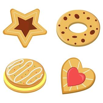쿠키와 케이크, 색상 고립 된 벡터 일러스트 레이 션