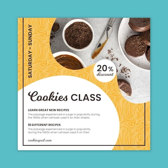 Флаер класса выпечки печенья в квадрате