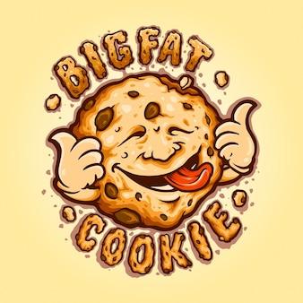 Cookies big fat biscuit chocolate векторные иллюстрации для вашей работы логотип, футболка с товарами-талисманами, наклейки и дизайн этикеток, плакаты, поздравительные открытки, рекламирующие бизнес-компанию или бренды.