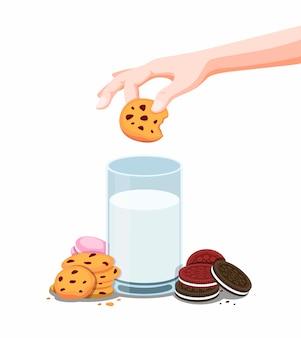 Печенье бисквитное и парное молоко, ручное погружение печенья в шоколадную стружку. карикатура иллюстрации на белом фоне