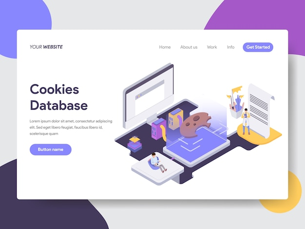 Cookies database isometric illustration for web pages