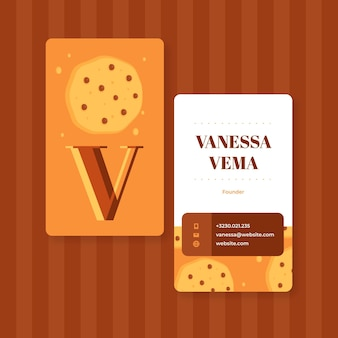Modello di biglietto da visita bifacciale di biscotti