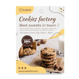 Modello di volantino verticale di fabbrica di biscotti