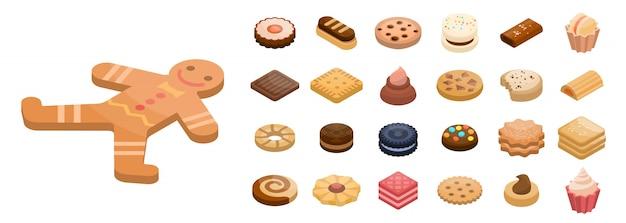 Cookies icon set, isometric style