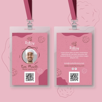 Cookies id card template with photo